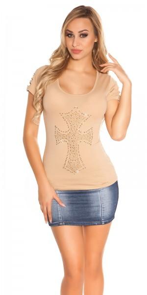 Sexy KouCla T-Shirt mit Rissen und Kreuz