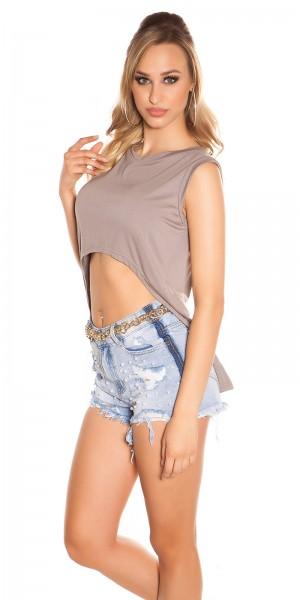 Sexy KouCla Highlow Crop Shirt