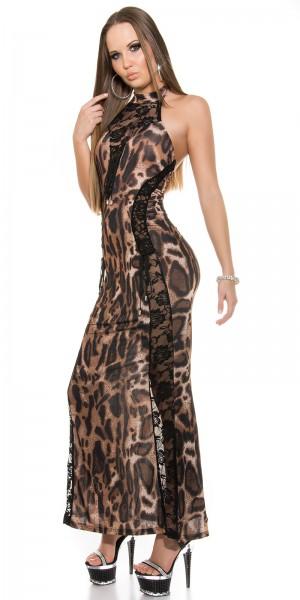 Sexy Neck-Kleid mit Spitzenstoff und geschnürt