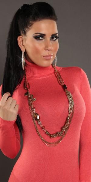 Trendy Kette mit Anhängern und Perlen