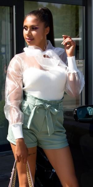 Sexy Paperbag Lederlook-Shorts