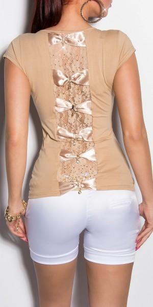 Sexy KouCla Shirt mit Spitze und Schleifen