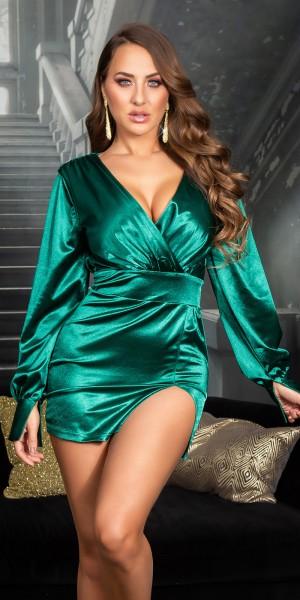 Sexy Koucla Satin Look V-Auschnitt Minikleid