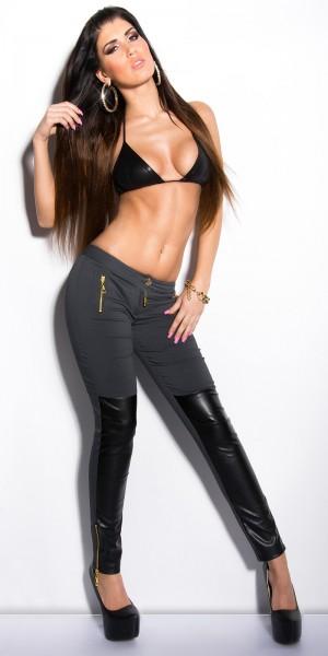 Sexy KouCla Skinny-Hose mit Zips und Lederlook