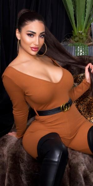 Sexy Koucla V-Ausschnitt Overall mit Gürtel