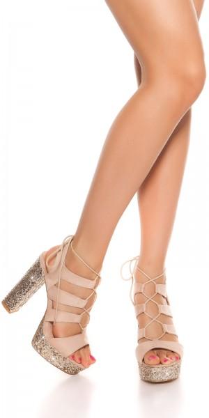 Sexy Glitzer Blockabsatz Sandalette