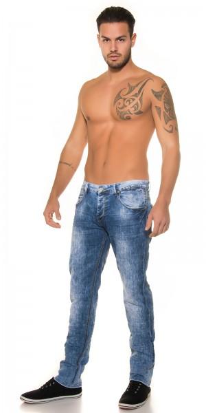 Trendy Mens Jeans Blue Bleached Look