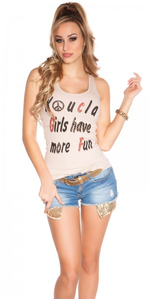 "Sexy""KouCla Girls have more Fun"" Tanktop m. Strass"