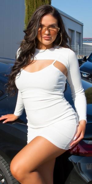 Sexy Basic Bodycon Spaghettiträger Kleid+Crop Top