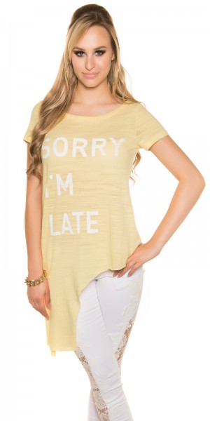 "Sexy KouCla Shirt asymmetrisch ""Sorry I m Late"""