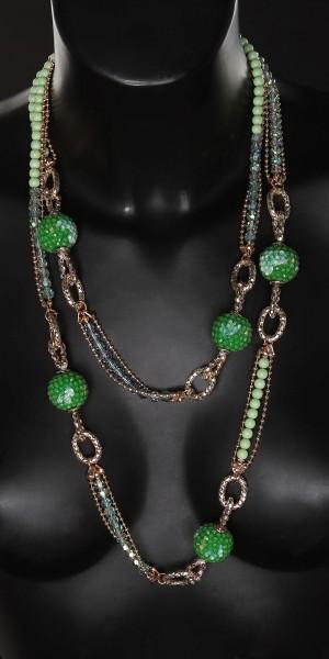 Trendy lange Halskette mit Steinchen