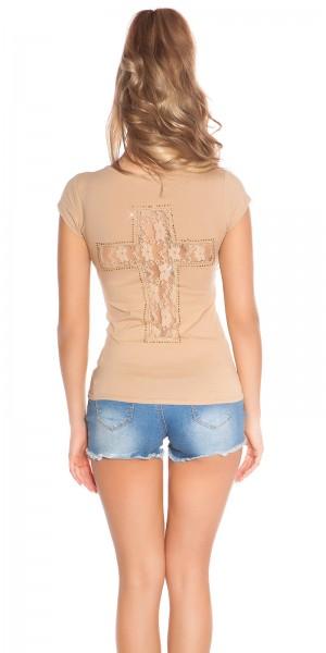 Trendy KouCla Shirt mit Kreuz-Print und Spitze