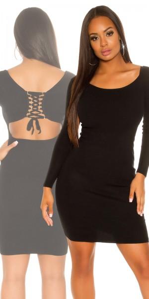 Sexy KouCla Feinstrick Kleid mit Rücken Cut Out