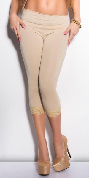Sexy Capri-Leggings mit Spitzensaum
