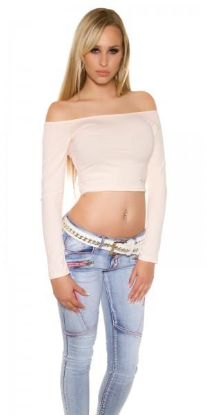 Sexy KouCla langarm Crop Top mit sexy Rücken