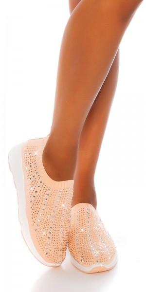 Trendy Slip-on sneaker mit Glitzersteinen