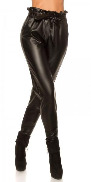 Trendy Lederlook Jogpants mit Gürtel