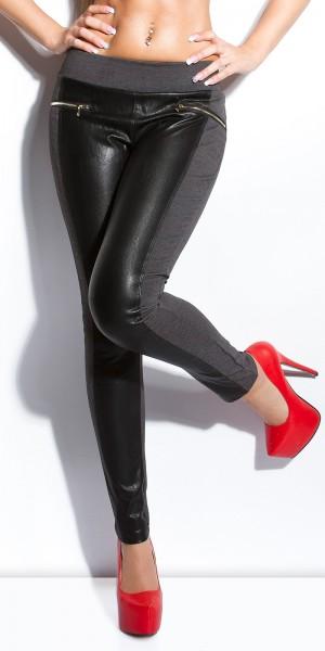 Sexy KouCla Hose mit Lederlook-Einsätzen