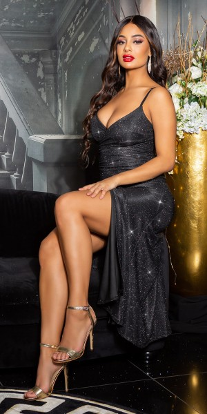 Sexy V-Ausschnitt Glitzerkleid mit Schlitz