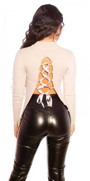 Sexy KouCla Ripp Pullover mit Rückenschnürung