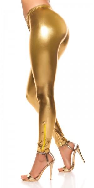 Sexy KouCla Leggings mit Glanz-Look und Zips